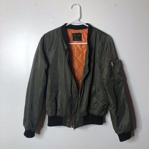 Love Tree Womens Olive Green Drab Military Quilted Bomber Jacket Size Small